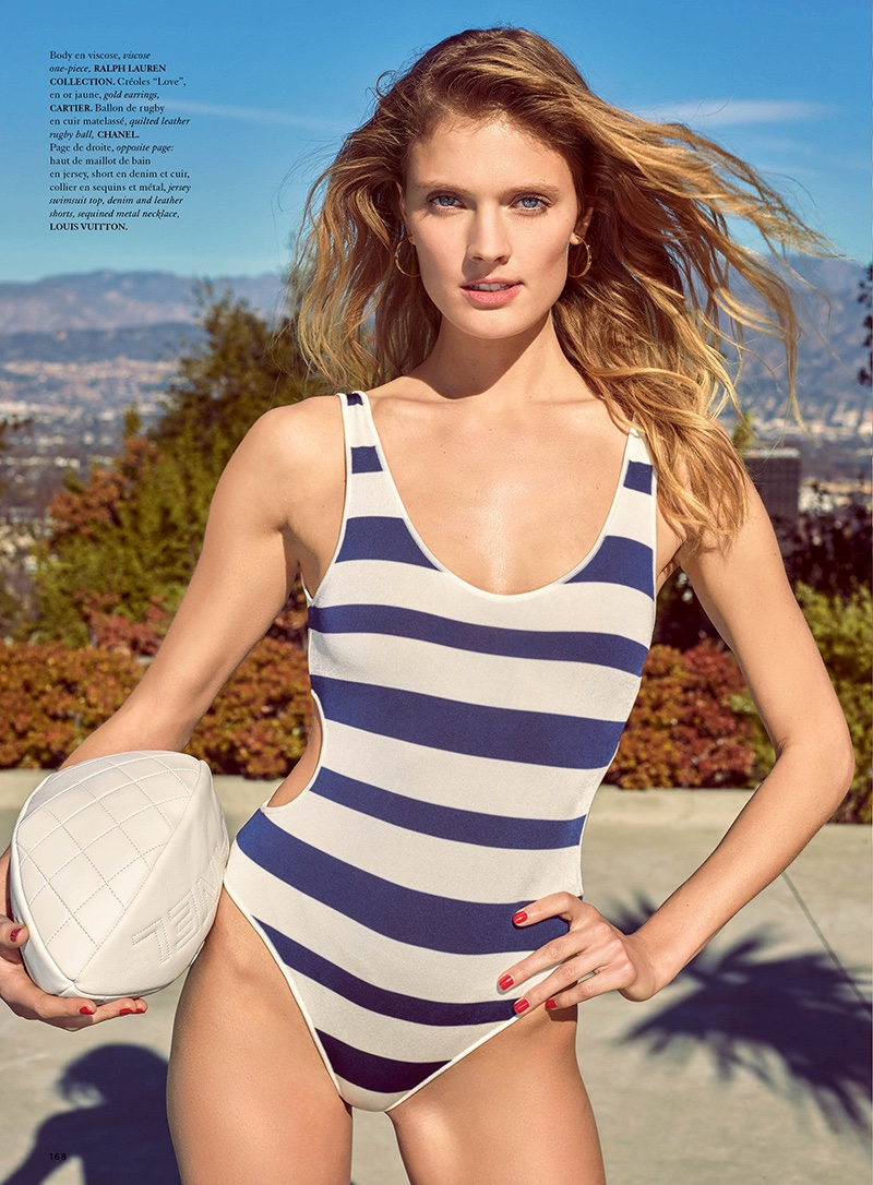 Constance Jablonski is a Poolside Pin-Up in Air France Madame