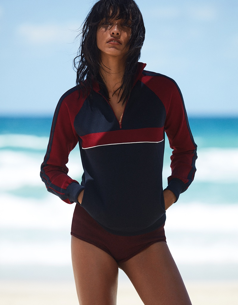 Cora Emmanuel wears Chloe tracksuit jacket and bikini bottoms