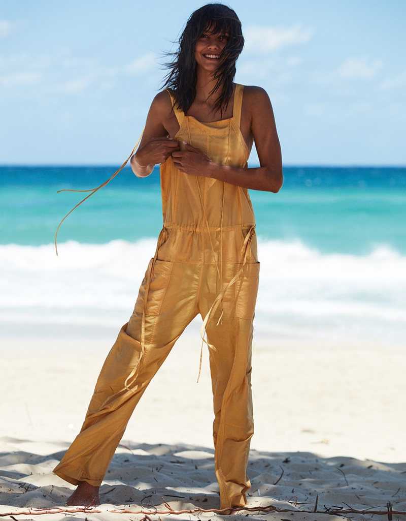 Cora Emmanuel models yellow jumpsuit from Isabel Marant