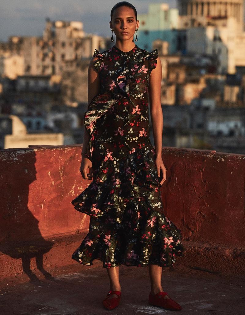 Cora Emmanuel models ruffle embellished dress from Erdem