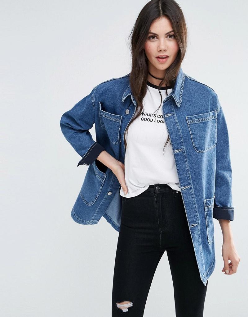 ASOS Denim Workwear Jacket in Mid Stonewash Blue