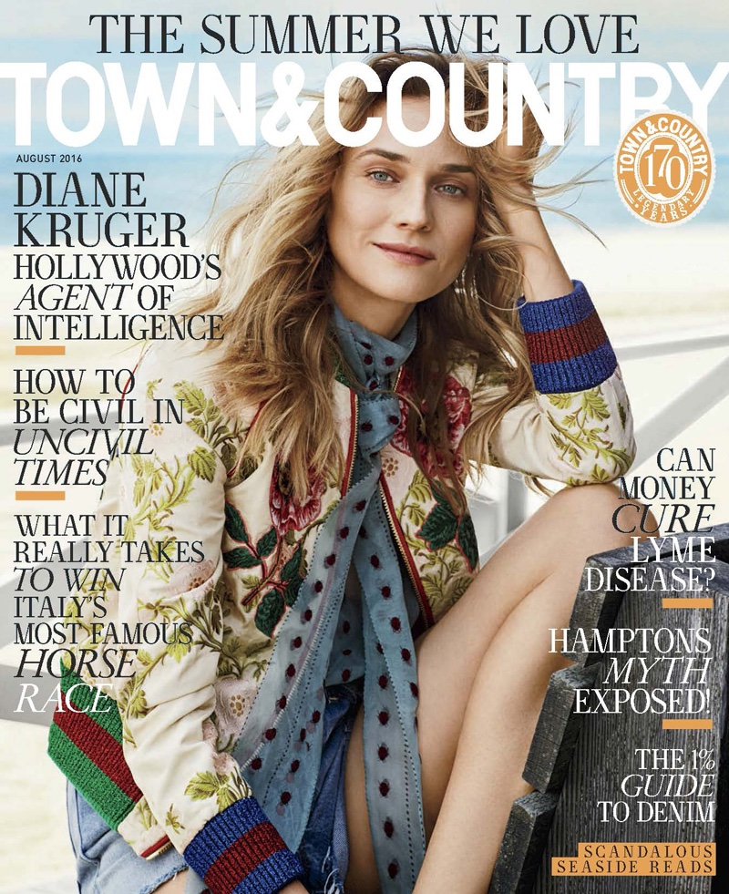 Diane Kruger on Town & Country August 2016 Cover