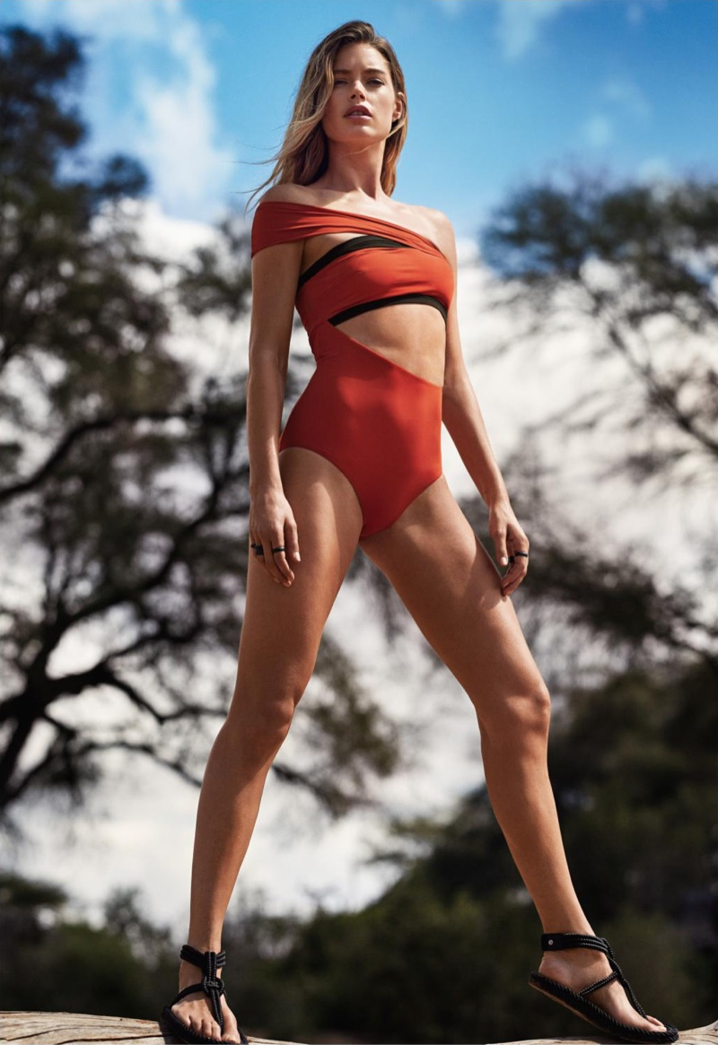 Doutzen Kroes wears Alix one-piece swimsuit with Isabel Marant sandals