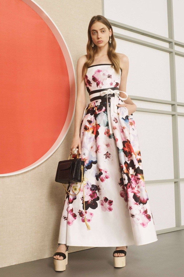 Elie Saab Resort 2017: Cherry blossom print gown with belted waist