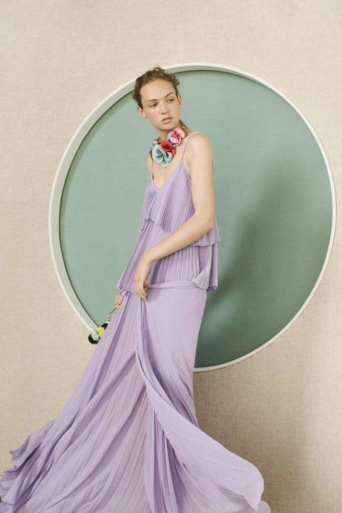 Elie Saab Resort 2017: Purple gown with tiered pleating