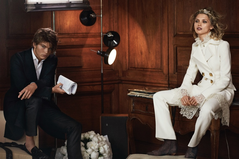Hana Jirickova and Jordan Barrett suit up in Ermanno Scervino's fall-winter 2016 campaign