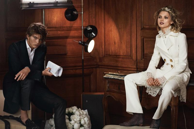 Hana Jirickova and Jordan Barrett suit up in Ermanno Scervino's fall-winter 2016 campaign
