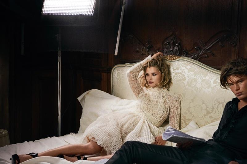 Hana Jirickova wears pleated lace dress in Ermanno Scervino's fall 2016 campaign