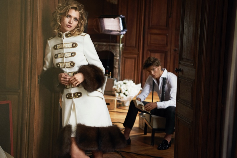 Ermanno Scervino features fur-trimmed coat in fall-winter 2016 advertisements