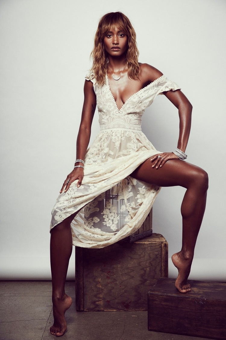 Melodie Monrose models For Love & Lemons' Violetta maxi dress