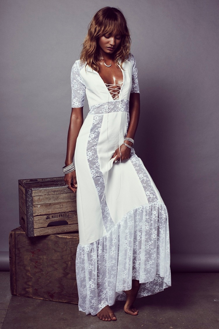 Melodie Monrose wears For Love and Lemons' Madeline maxi dress