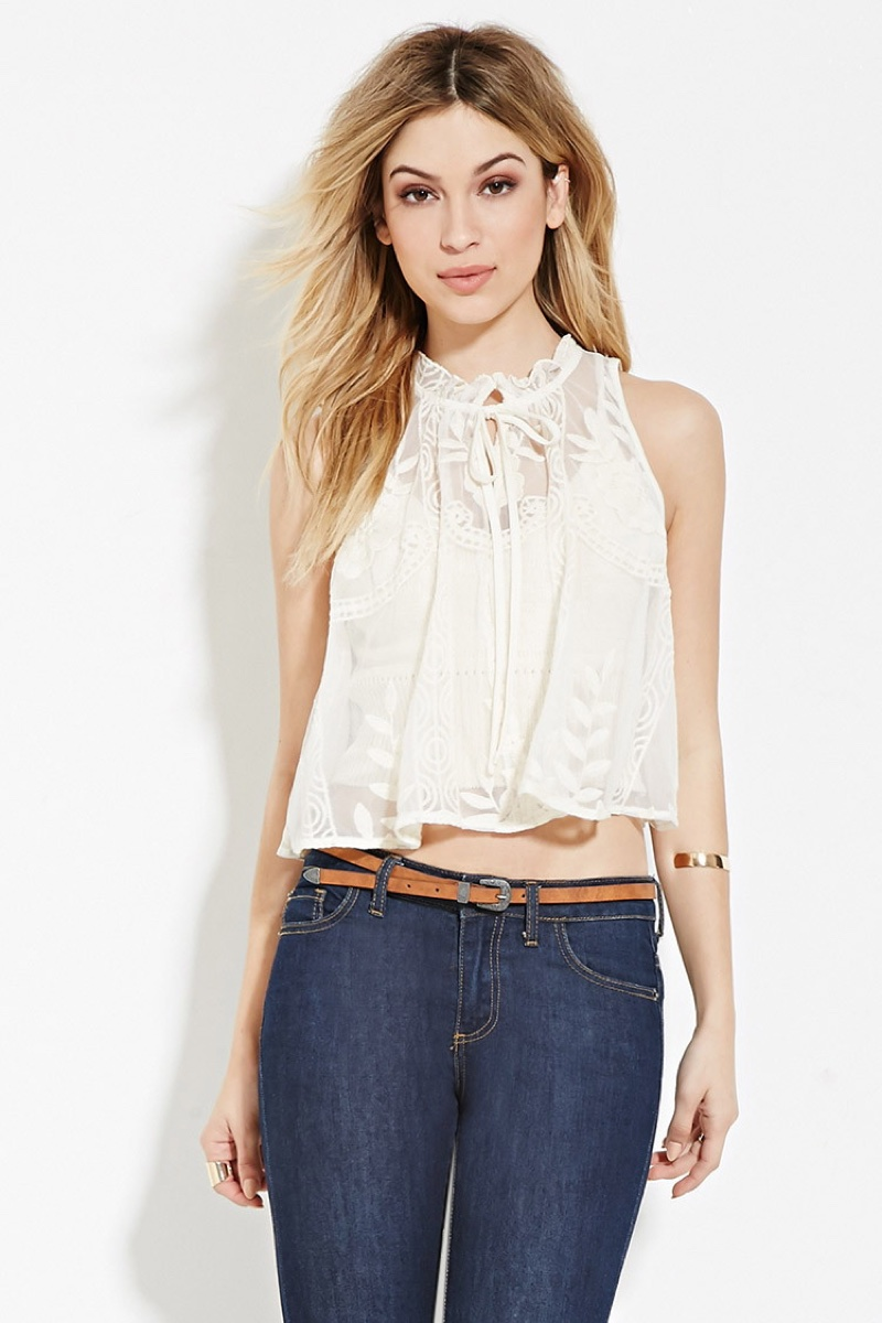 Forever 21 Lace Boxy Crop Top
