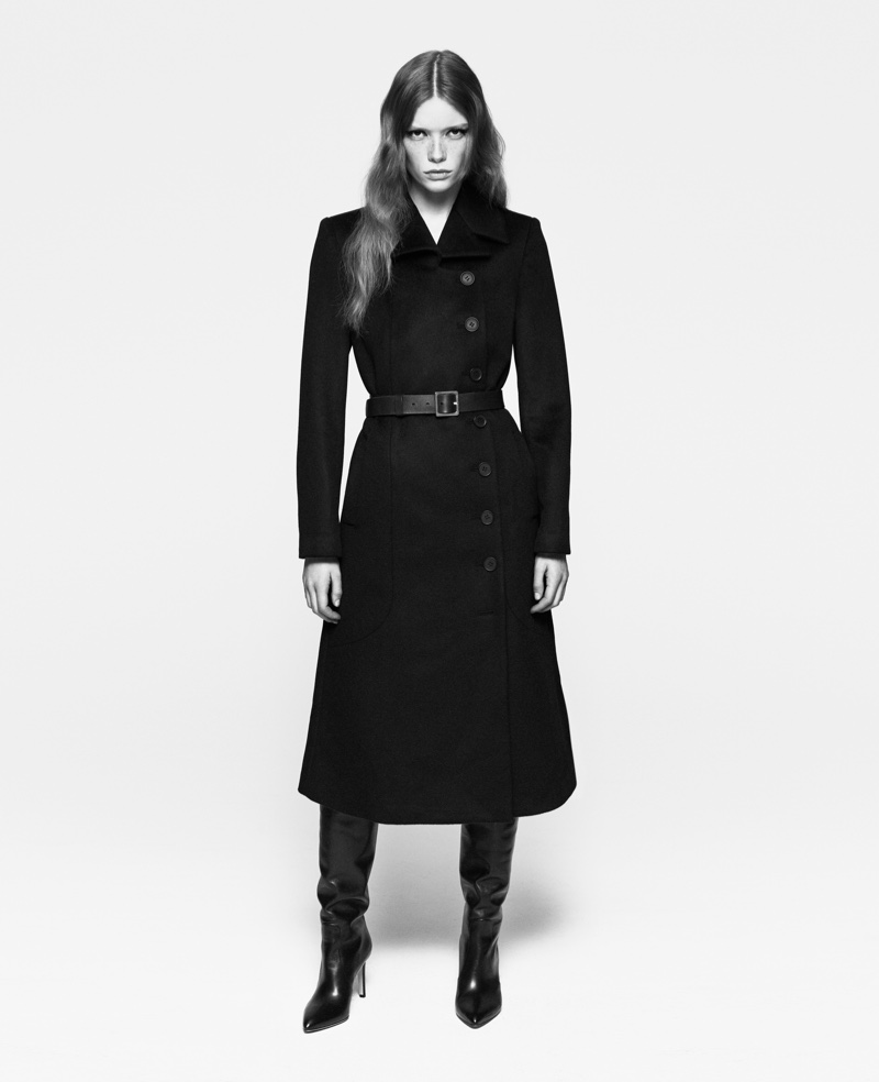 Julia Hafstrom wears tailored coat in FRAME's fall-winter 2016 campaign