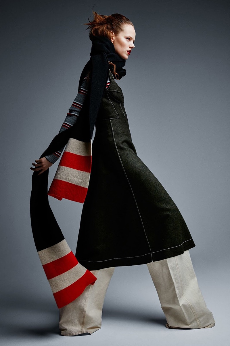 Freja Beha Erichsen models Pringle of Scotland wool dress, Dries van Noten trousers and Maison Scotch scarf