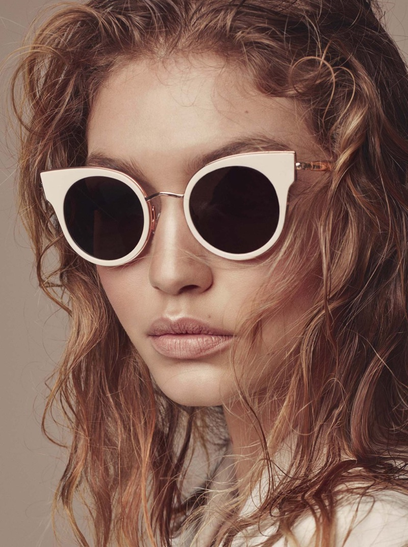 Gigi Hadid poses with Max Mara sunglasses in fall-winter 2016 accessories campaign