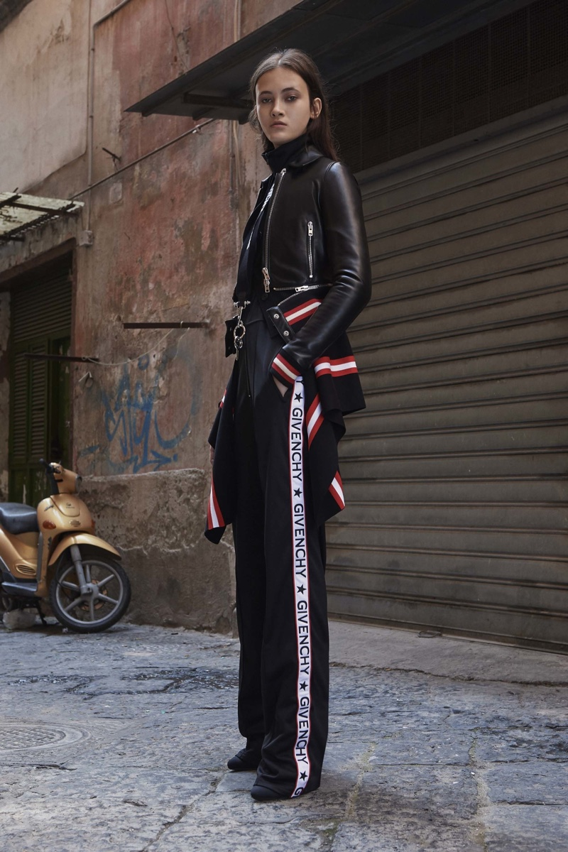 Givenchy Resort 2017: Cropped moto jacket with ruffle embellishment and track pants featuring the Givenchy logo