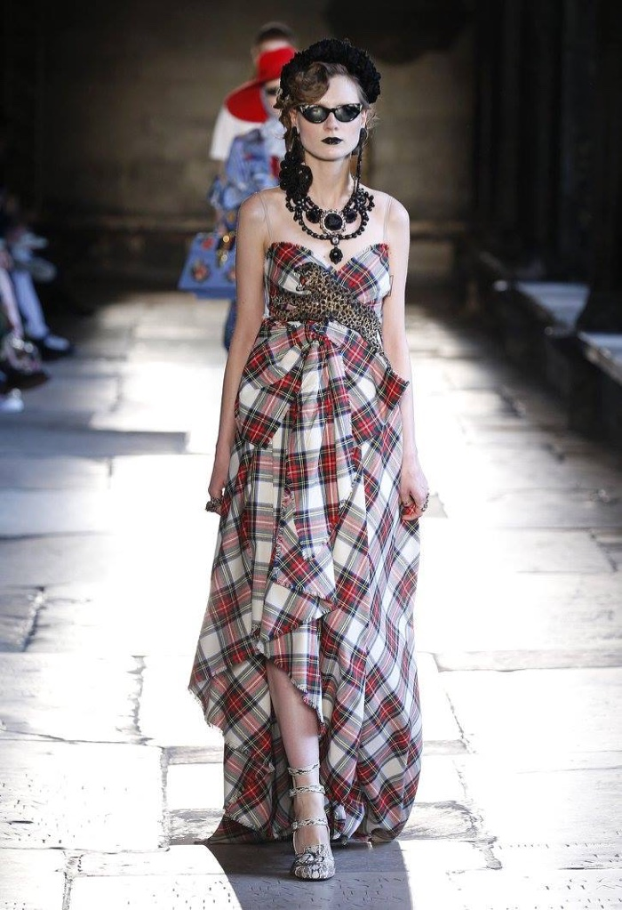 e2c2b20106e A model walks the runway at Gucci s resort 2017 show wearing a tartan gown  with a