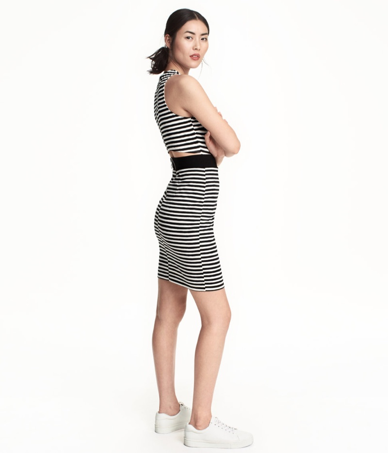 H&M Striped Cutout Dress