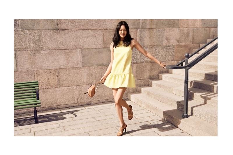 H&M Satin Dress, Shoulder Bag with Tassel and Sandals