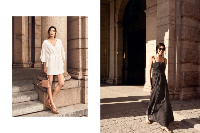 (Left) H&M Dress with Butterfly Sleeves, Small Shoulder Bag, Chiffon Maxi Dress and Wedge-Heeled Sandals (Right) H&M Round Sunglasses, Chiffon Maxi Dress and Thong Sandals
