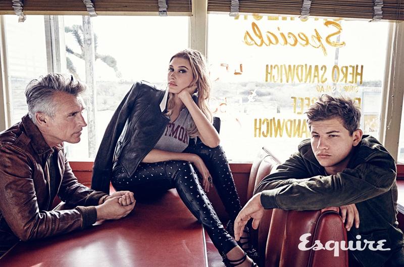 Hailey Baldwin poses with Tye Sheridan and John Pearson for Esquire Magazine