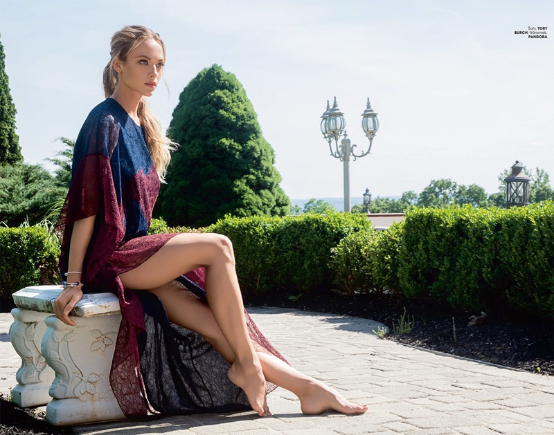 Hannah Ferguson wears Tory Burch maxi dress with Pandora jewelry