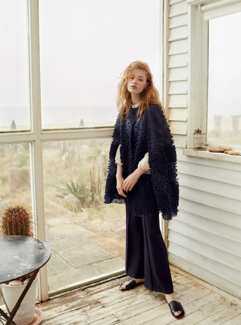 Hollie-May Saker models cape, shirt and twill jumpsuit from Roksanda