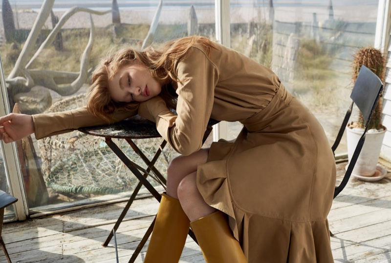 Hollie-May Saker wears Celine silk and cotton top with matching skirt, and boots