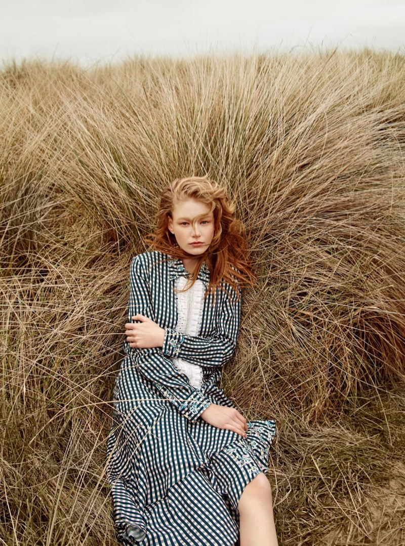 Hollie-May poses in ruffle-front dress from Preen by Thornton Bregazzi