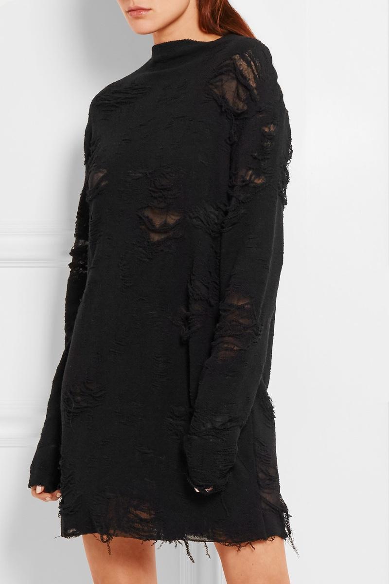 Anja Rubik x Iro Iriza Distressed Cotton Blend Terry Mini Dress