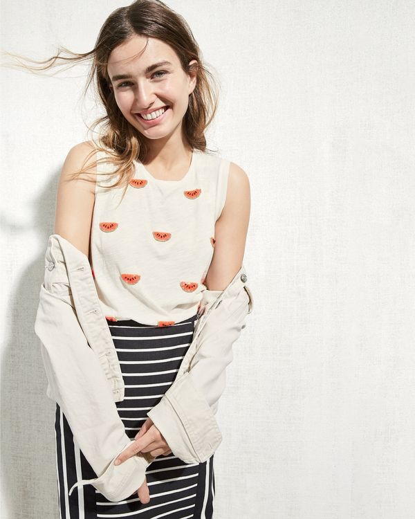 J. Crew Denim Jacket in Ecru Wash, Beaded Watermelon T-Shirt and Mixed-Stripe Pencil Skirt