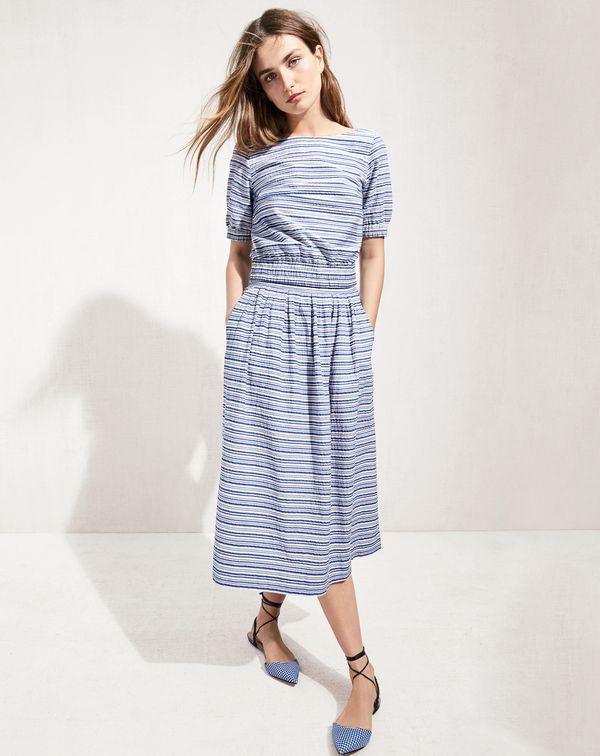 e3a80c3d23 ... J. Crew Seersucker Cropped Top, Midi Skirt and Slingback Flats in  Gingham