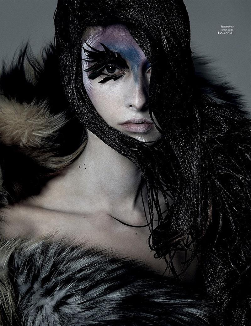 Photographed by Jack Waterlot, the model wears tribal inspired beauty looks