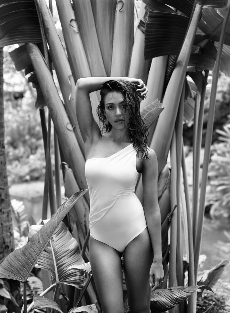 Photographed in black and white, Jessica Alba wears one-shoulder swimsuit look