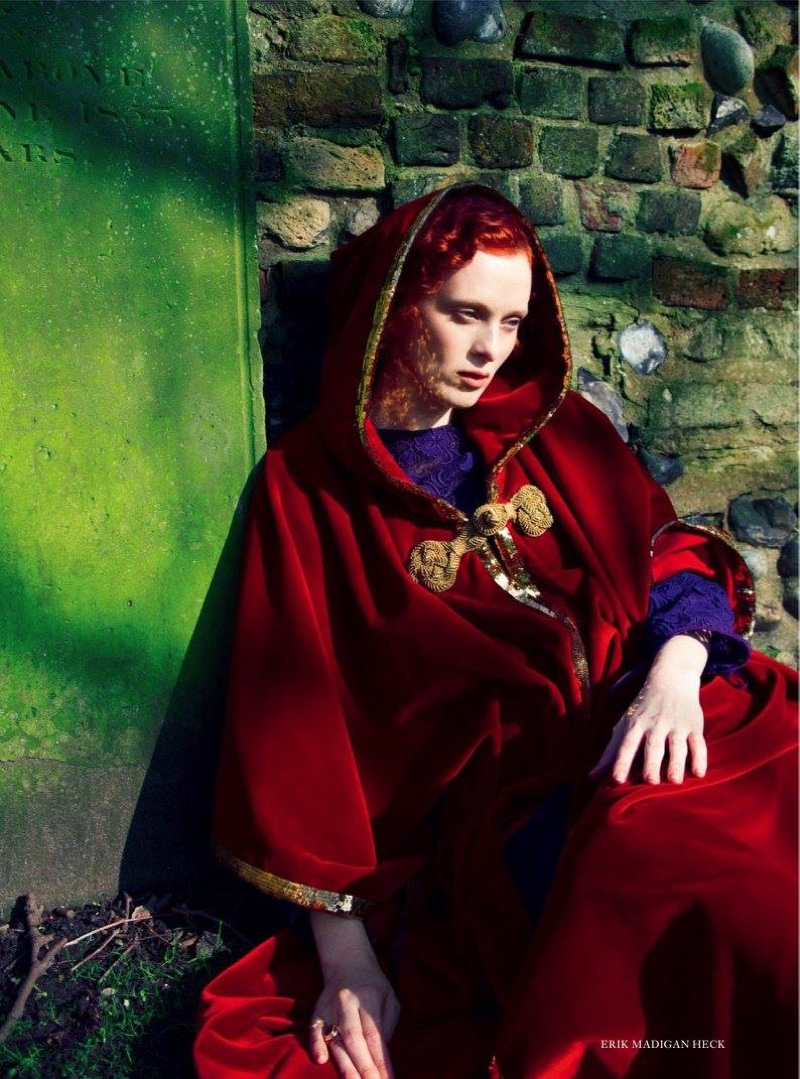 Karen Elson covers up in red velvet cape from Saint Laurent by Hedi Slimane with Miu Miu lace dress