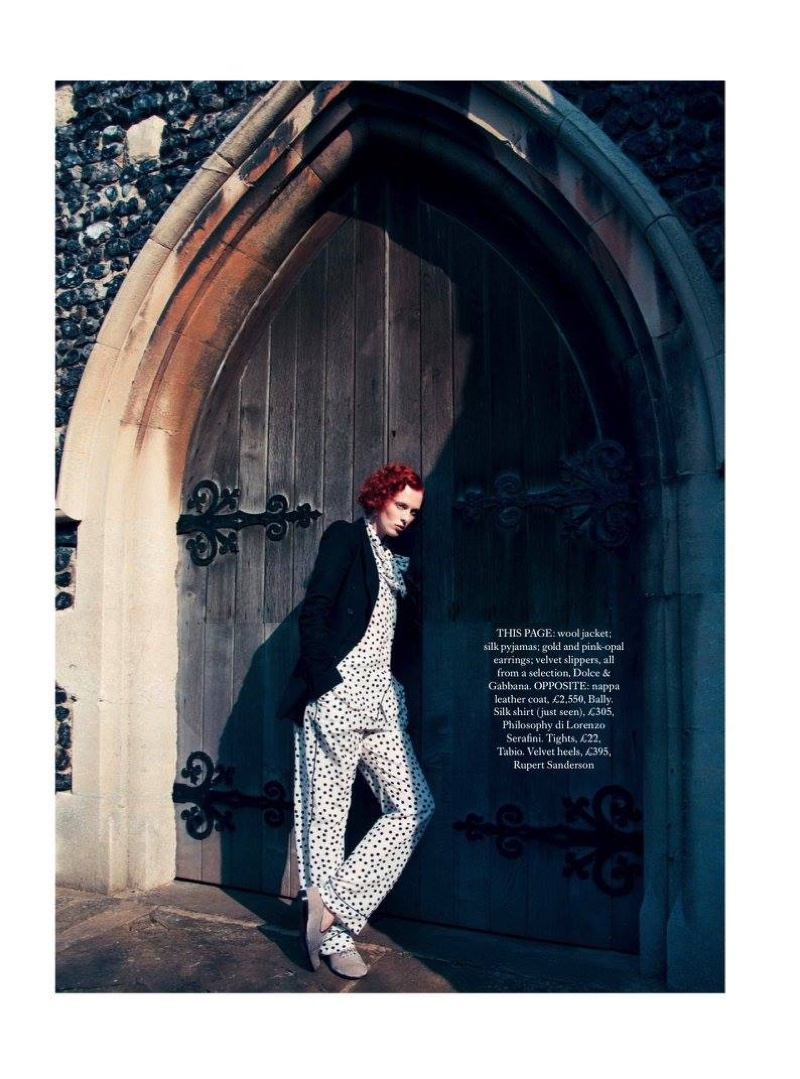 Karen Elson does luxe pajama dressing in a wool jacket with polka dot print silk pajama top and pants