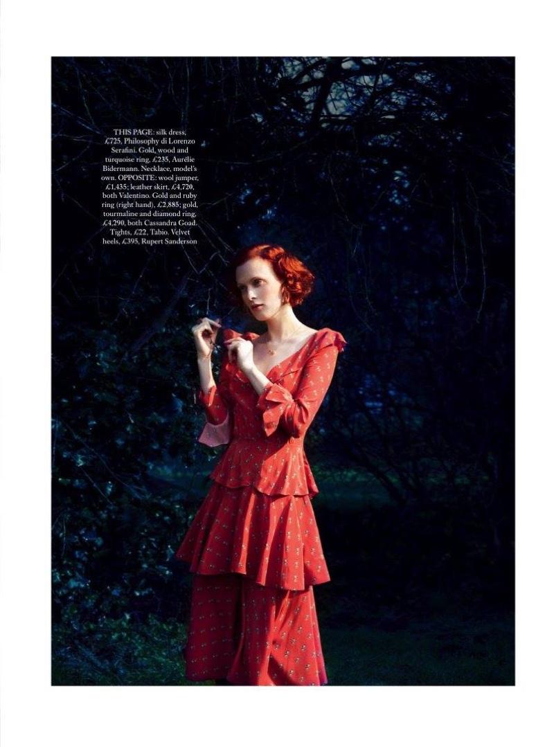 Karen Elson poses in tiered ruffle dress from Philosophy di Lorenzo Serafini