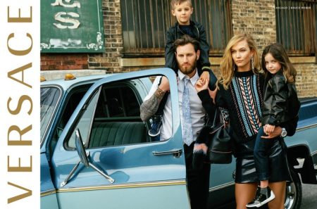 Karlie Kloss plays a fashionable mom in Versace's fall 2016 campaign