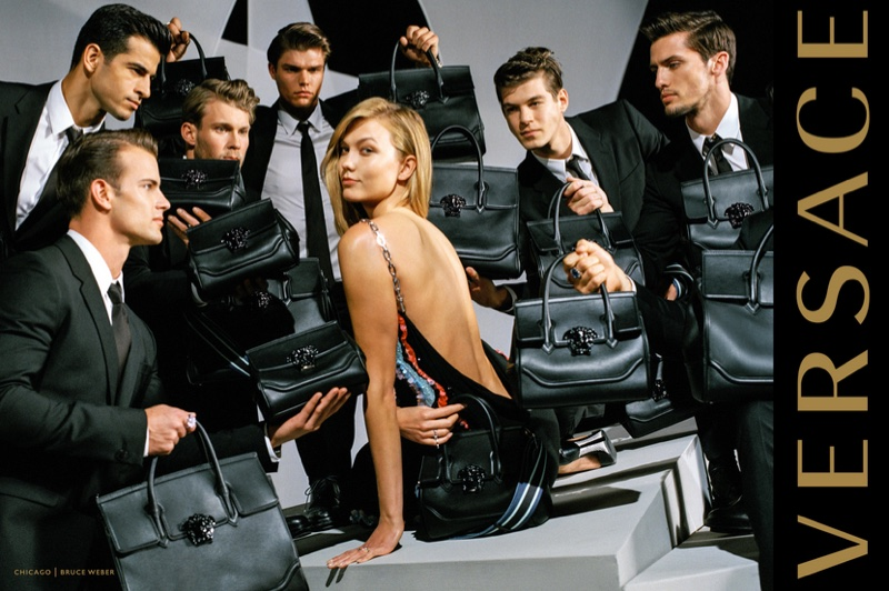 Photographed by Bruce Weber, Karlie Kloss gets surrounded by hunky guys in Versace's fall 2016 advertising