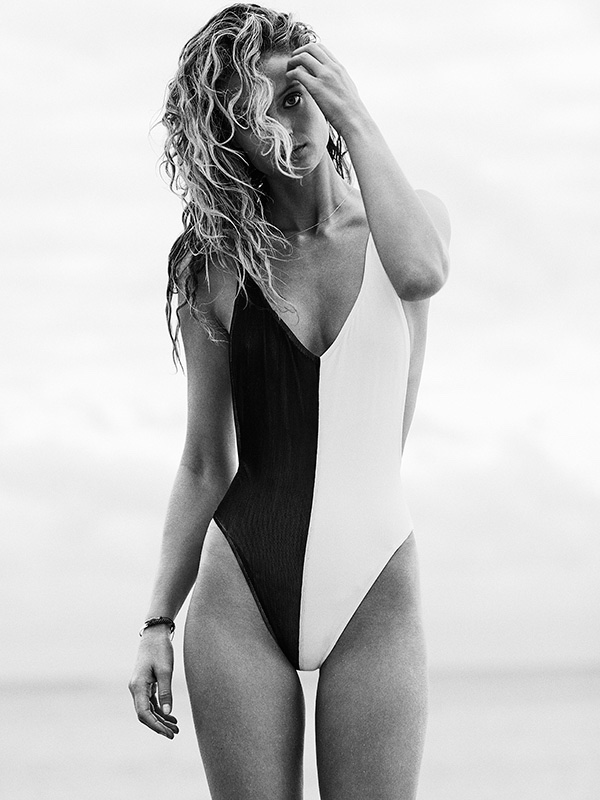 Kate Bock models bi-color one-piece swimsuit
