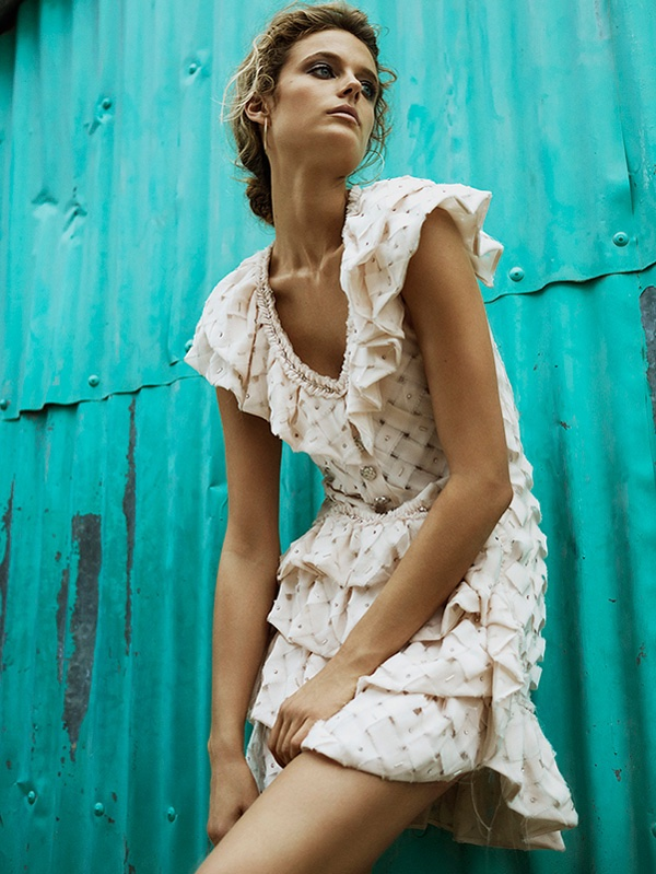 Kate Bock models ruffle embellished mini dress by Chanel