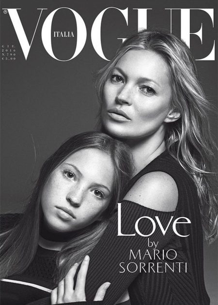 Kate Moss & Daughter Lila Grace Cover Vogue Italia's Family Issue