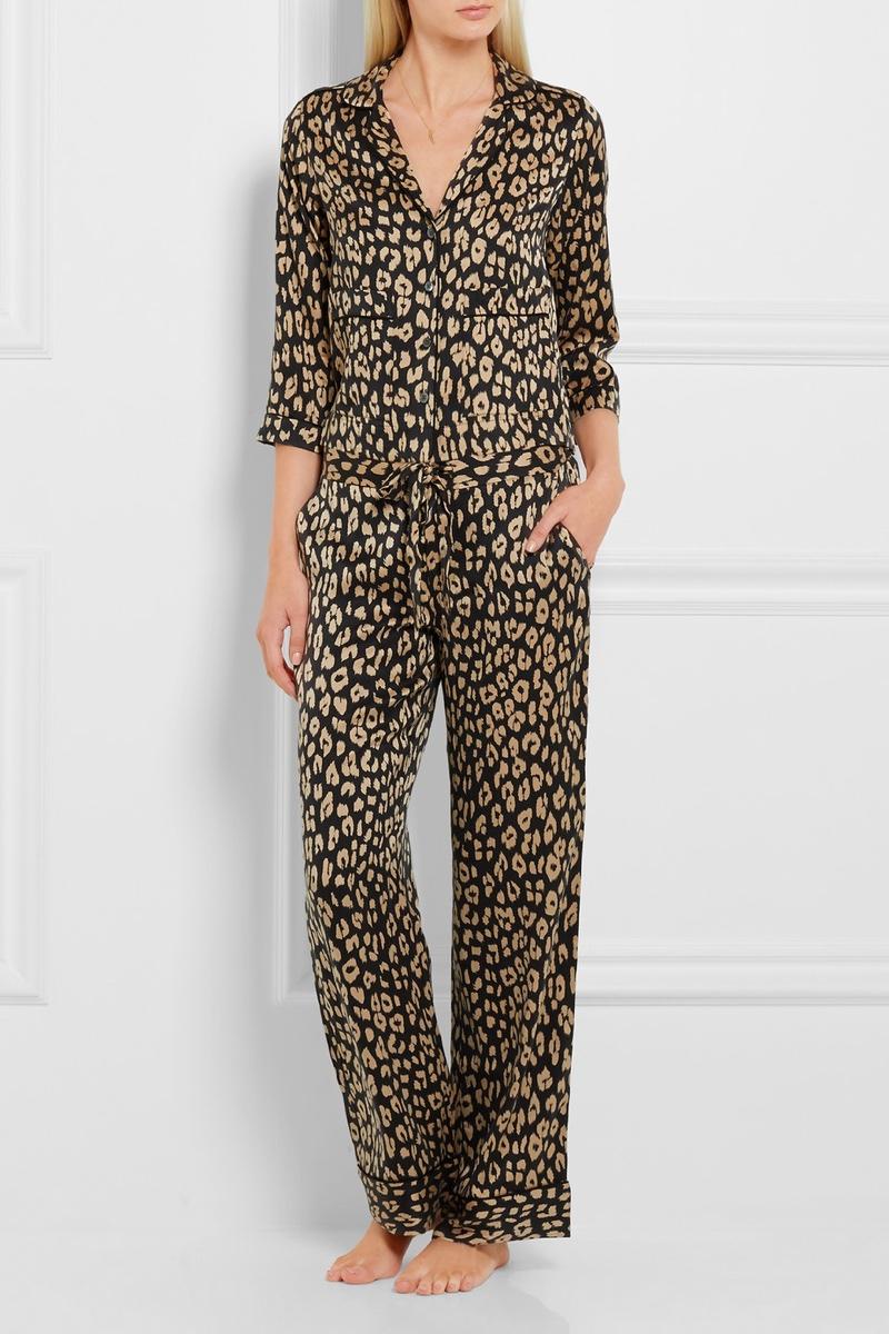 Kate Moss x Equipment Lake Leopard Print Washed Pajama Set