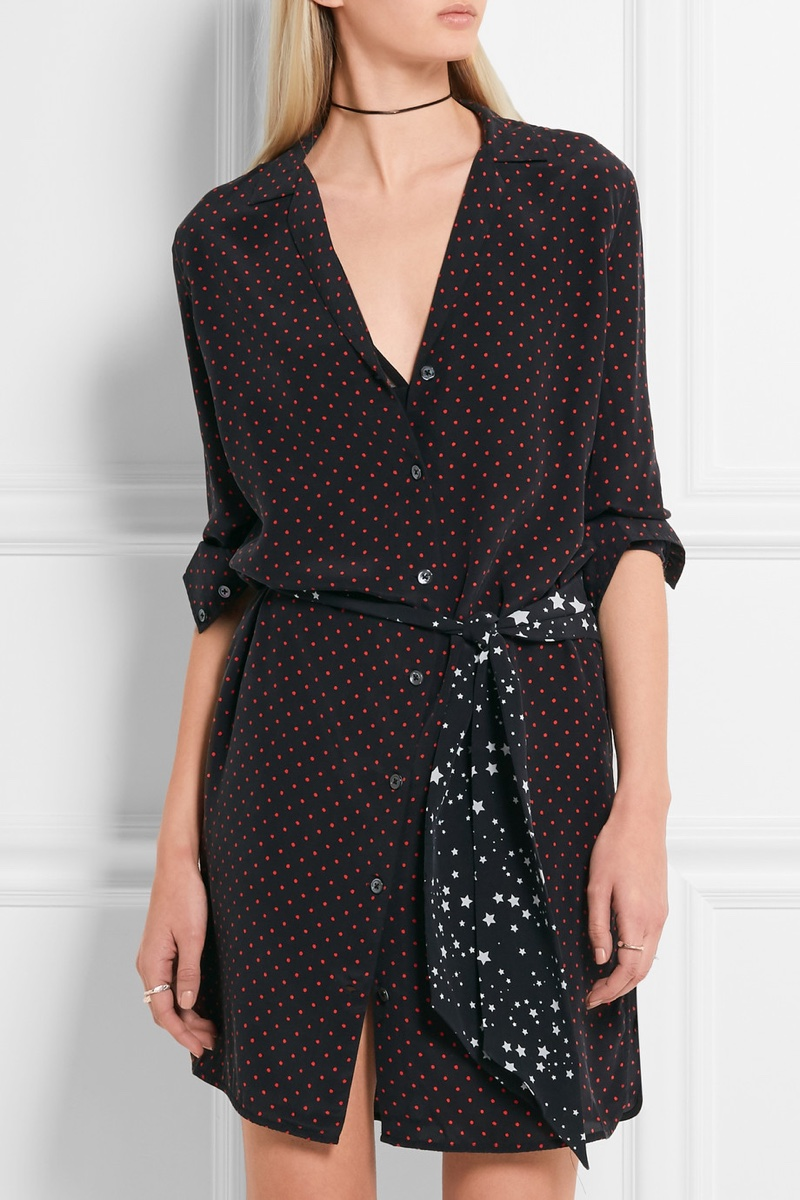 Kate Moss x Equipment Rosalind Printed Washed Silk Mini Dress