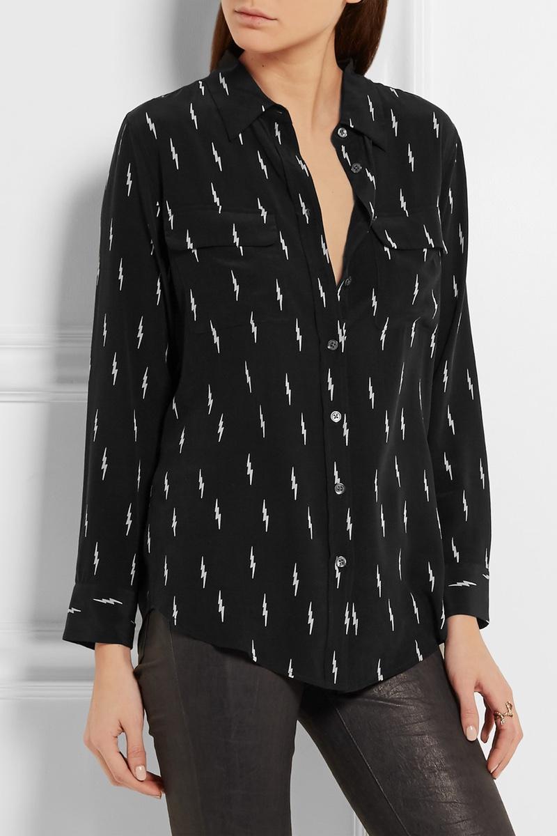Kate Moss x Equipment Slim Signature Printed Washed Silk Shirt