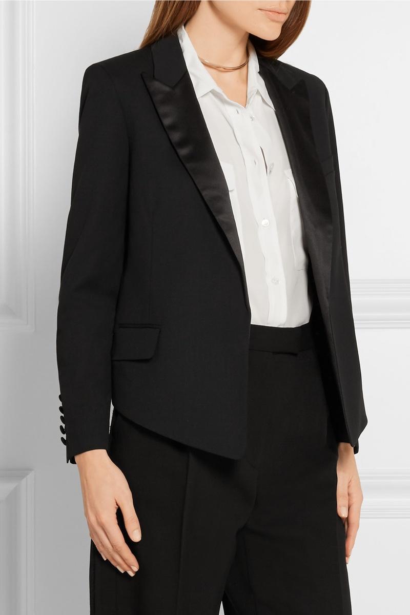 Kate Moss x Equipment Wynne Satin-Trimmed Wool Twill Blazer