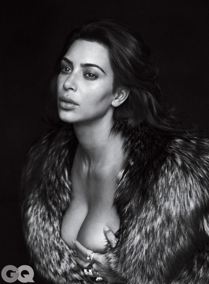 Photographed in black and white, Kim Kardashian wears Pologeorgis fur coat