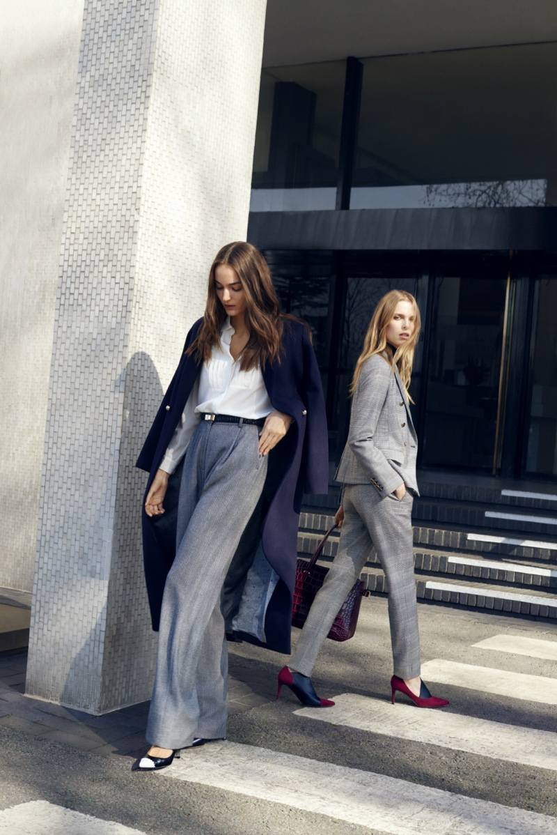 Models suit up for L.K. Bennett's fall 2016 campaign