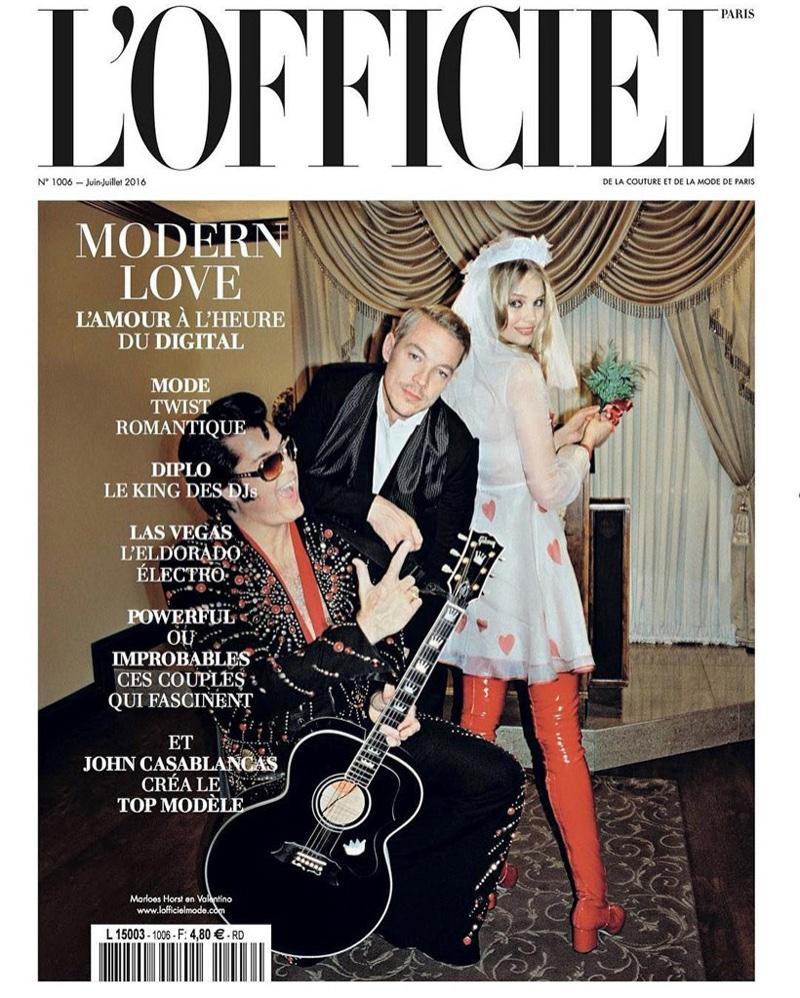 Marloes Horst & Diplo on L'Officiel Paris June-July 2016 Cover