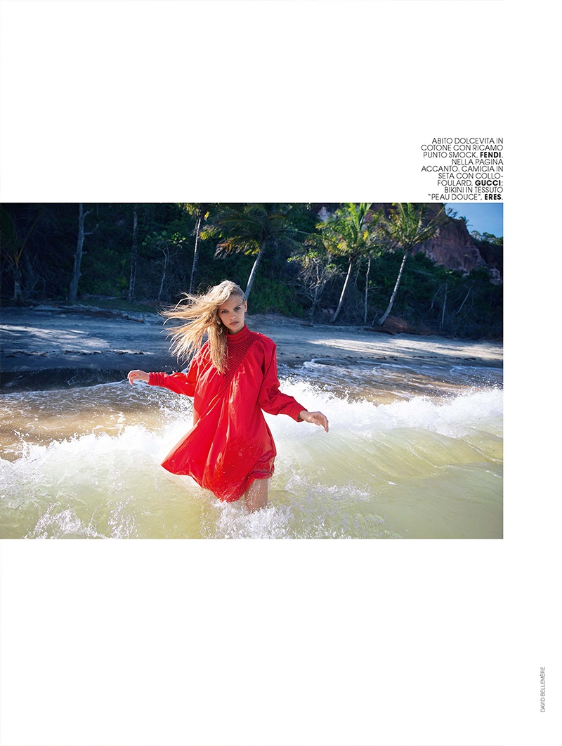 Marloes Horst wears red Fendi blouse